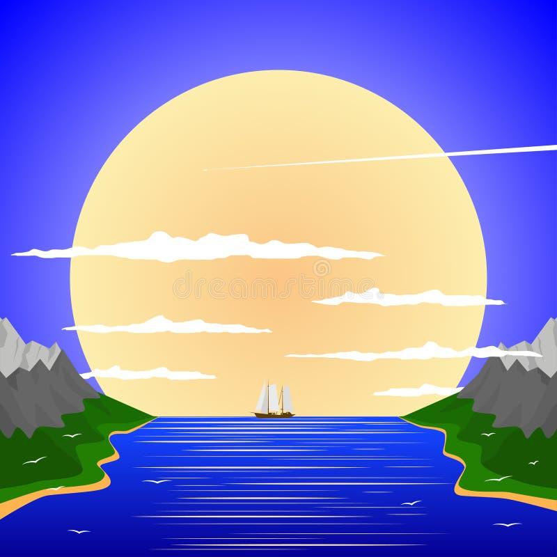 Paysage paisible contre le contexte du coucher de soleil illustration libre de droits