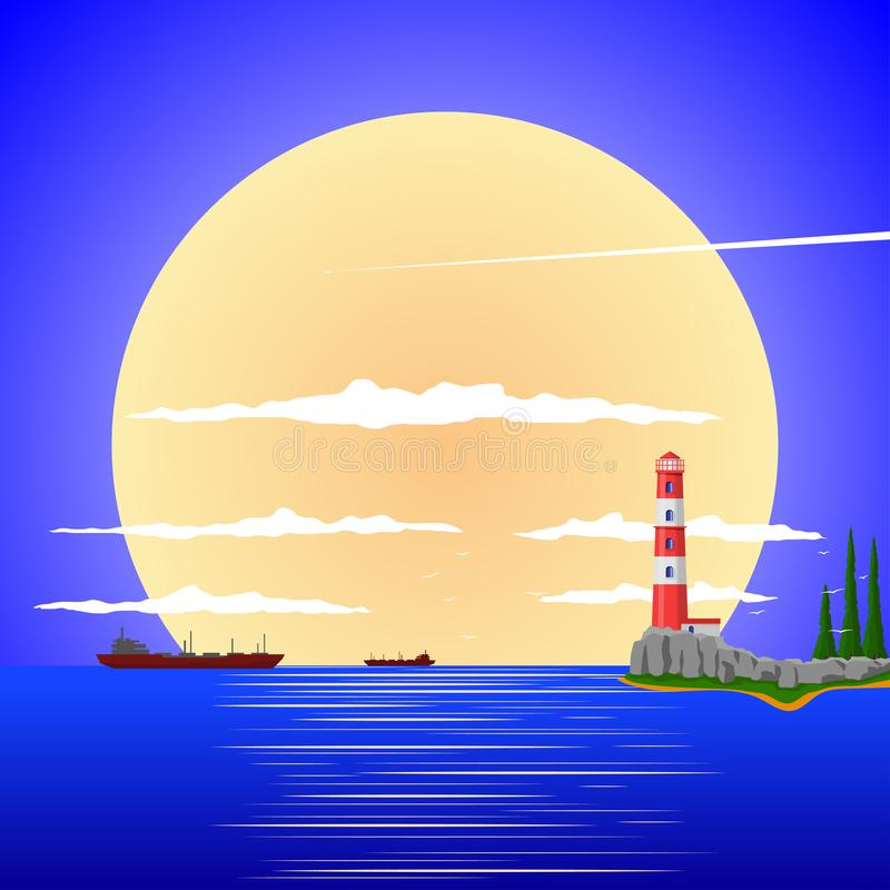 Paysage paisible contre le contexte du coucher de soleil illustration stock