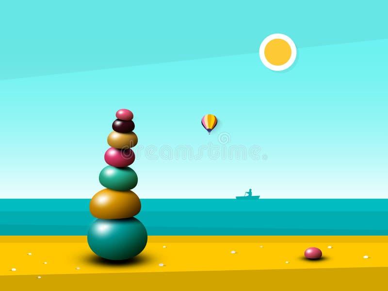 Paysage paisible tranquille d'océan avec Zen Pebbles Heap illustration de vecteur