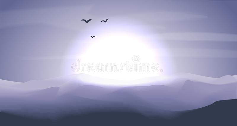 Paysage panoramique de désert vide avec les dunes et le coucher du soleil, crépuscule dans des couleurs bleues et grises, zone cr illustration libre de droits
