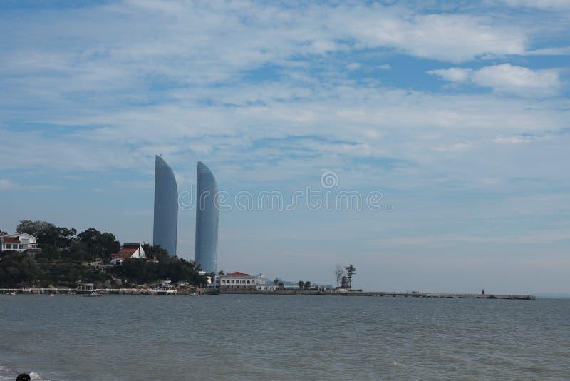 Paysage panoramique de Xiamen, vue aérienne d'île de gulangyu photographie stock