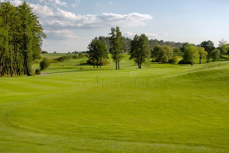 Paysage parfait de terrain de golf pendant l'été photos stock