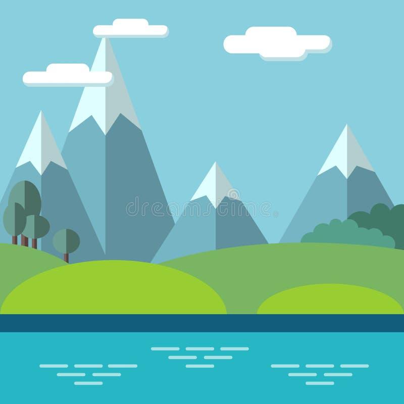 Paysage pastoral avec des montagnes et des arbres illustration libre de droits