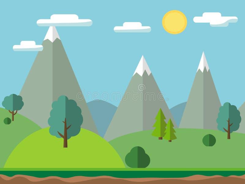 Paysage pastoral avec des montagnes et des arbres Scène extérieure de pré d'été, illustration de vecteur dans l'appartement et st illustration stock