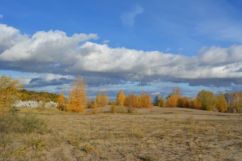 Paysage pittoresque d'automne avec les arbres d'or sur les collines arénacées et les beaux nuages dans le ciel image libre de droits