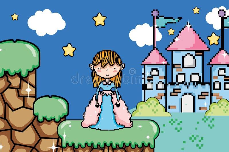 Paysage pixelated mignon d'imagination de jeu vidéo illustration stock