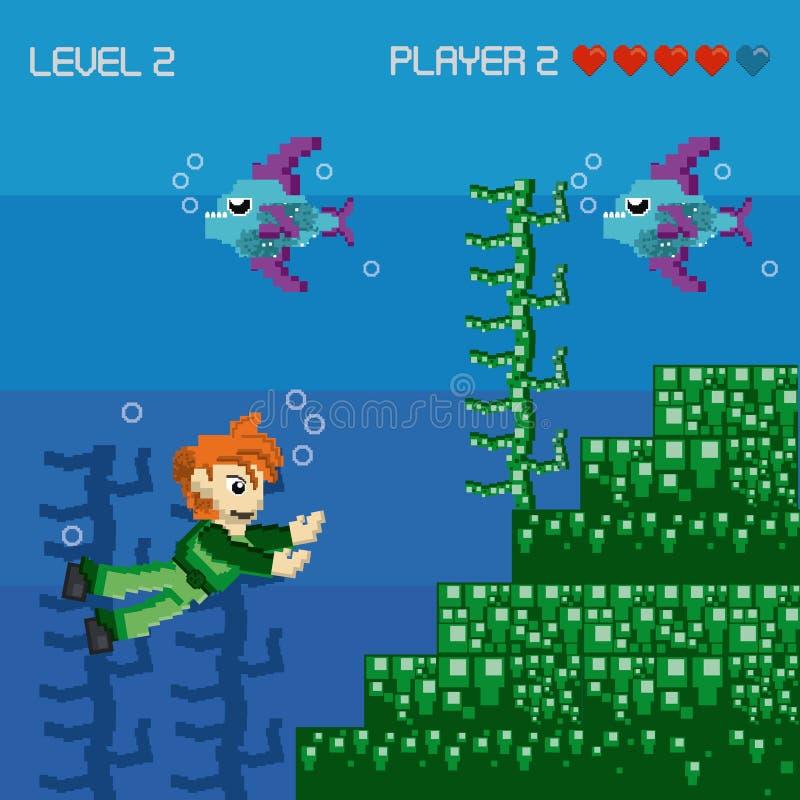 Paysage pixelated rétro par jeu vidéo illustration de vecteur