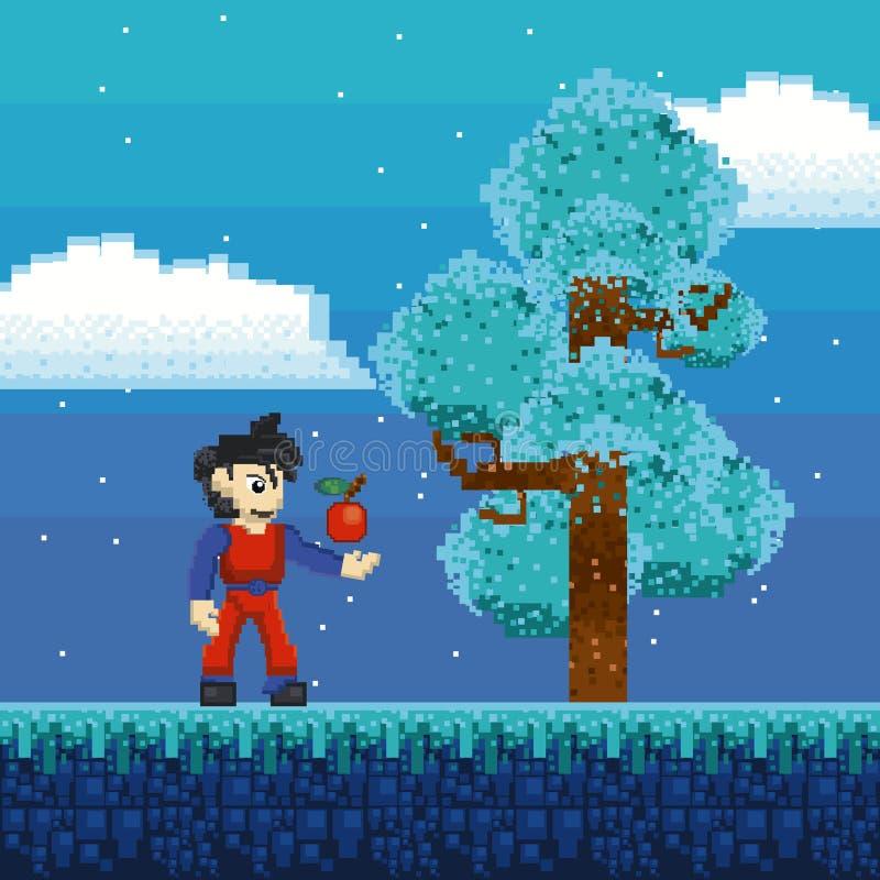 Paysage pixelated rétro par jeu vidéo illustration stock