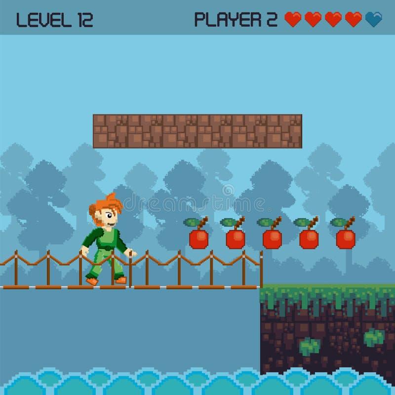 Paysage pixelated rétro par jeu vidéo illustration libre de droits