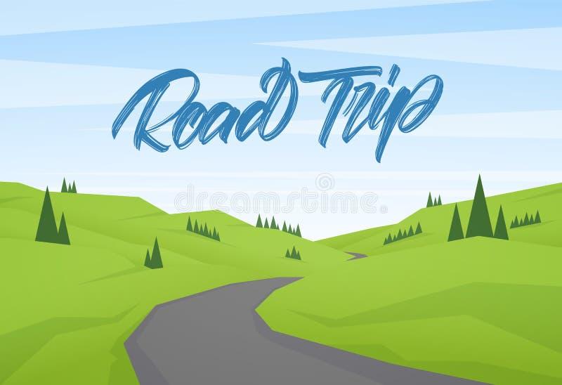 Paysage plat d'été de bande dessinée de vecteur avec le type manuscrit lettrage de voyage par la route illustration stock