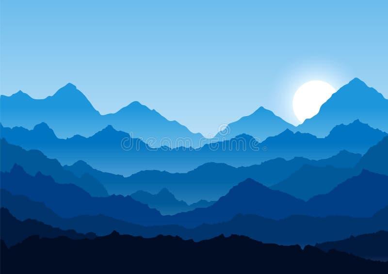 Paysage plat de montagne Matin dans les montagnes Tourisme et d?placement illustration libre de droits