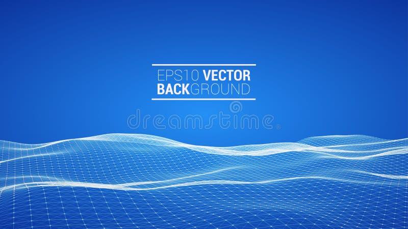 Paysage polygonal de Wireframe illustration de vecteur