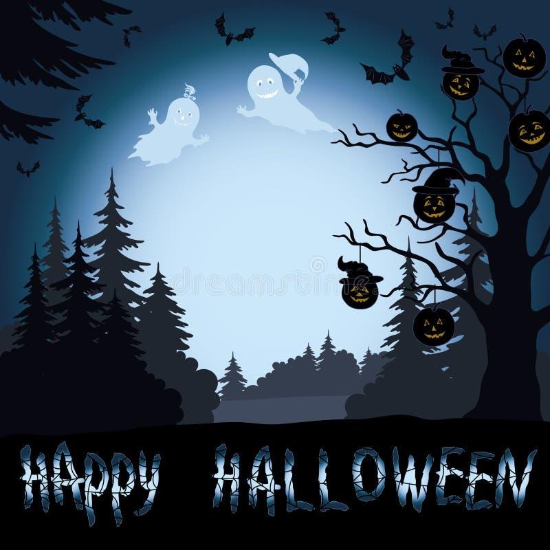 Paysage, potirons et fantômes de Halloween dans illustration stock