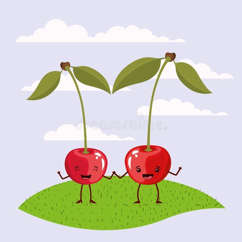Paysage réglé et herbe de ciel de scène de couleur avec le kawaii expressif de fruits de cerises de geste de couples tenant des m illustration stock