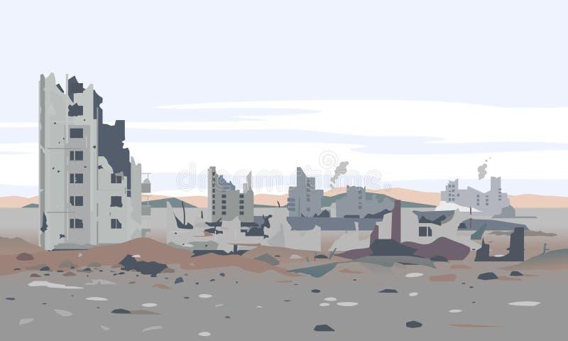 Paysage résidentiel détruit de voisinage illustration stock