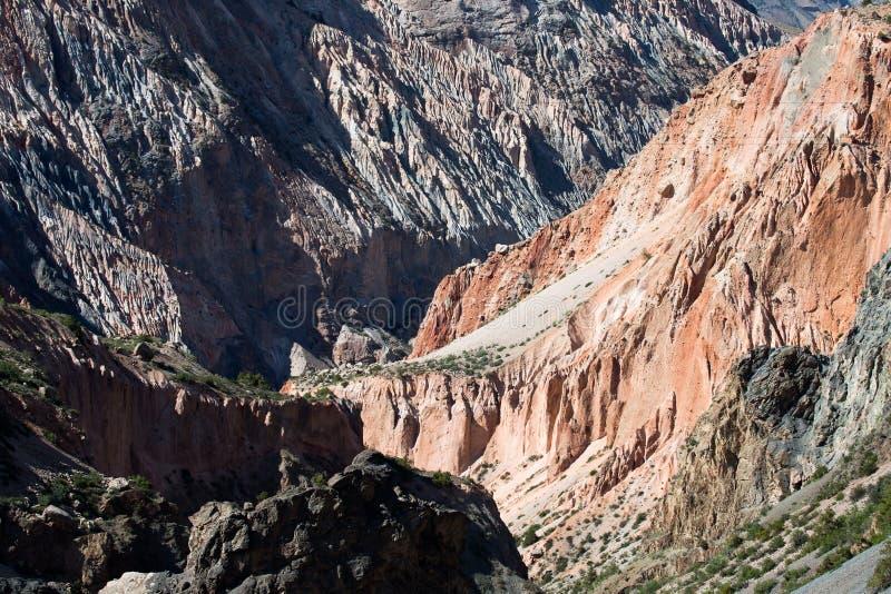 Paysage rocheux dans les montagnes de fan Pamir tajikistan image libre de droits