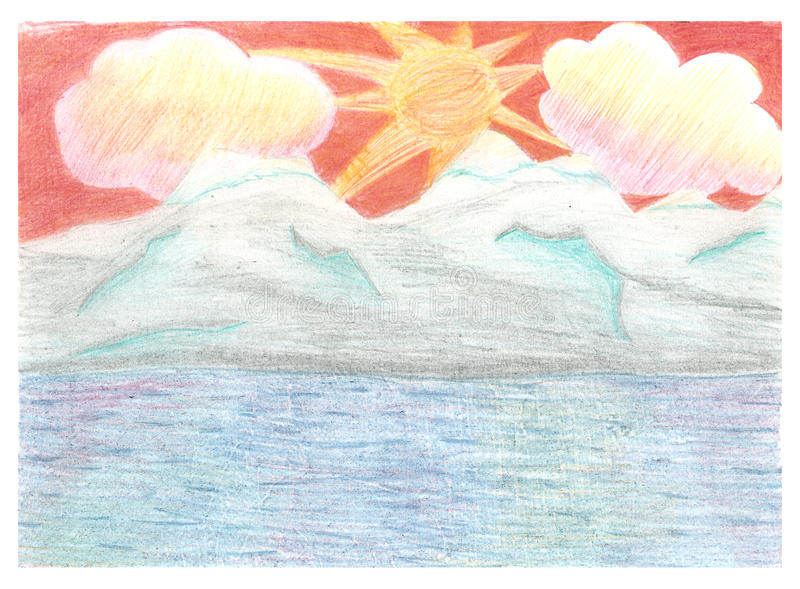 Paysage romantique, coucher du soleil, roches de montagnes et illustration stock