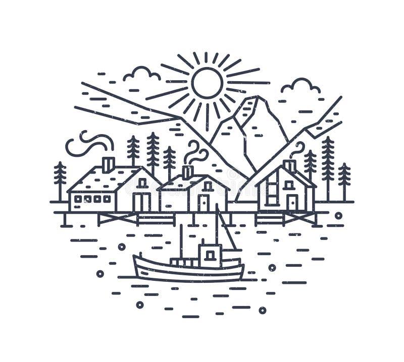 Paysage rond avec la navigation de bateau en mer, maisons, arbres et montagnes dessinés avec des courbes de niveau Voyage marin o illustration libre de droits