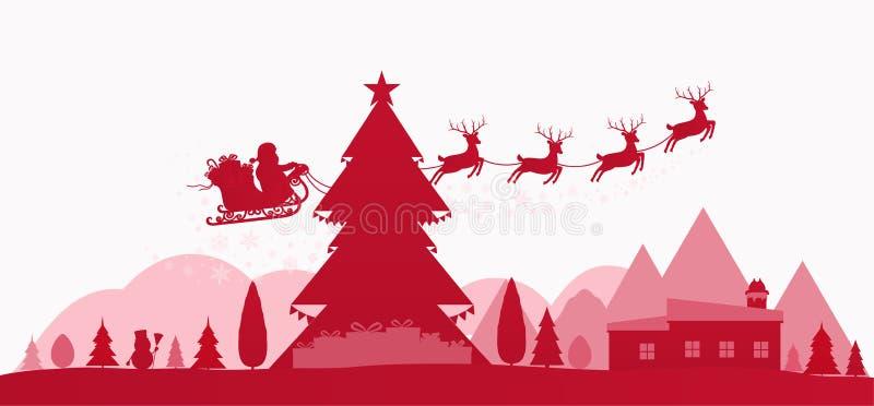 Paysage rouge de vacances d'hiver avec des arbres de Noël illustration de vecteur