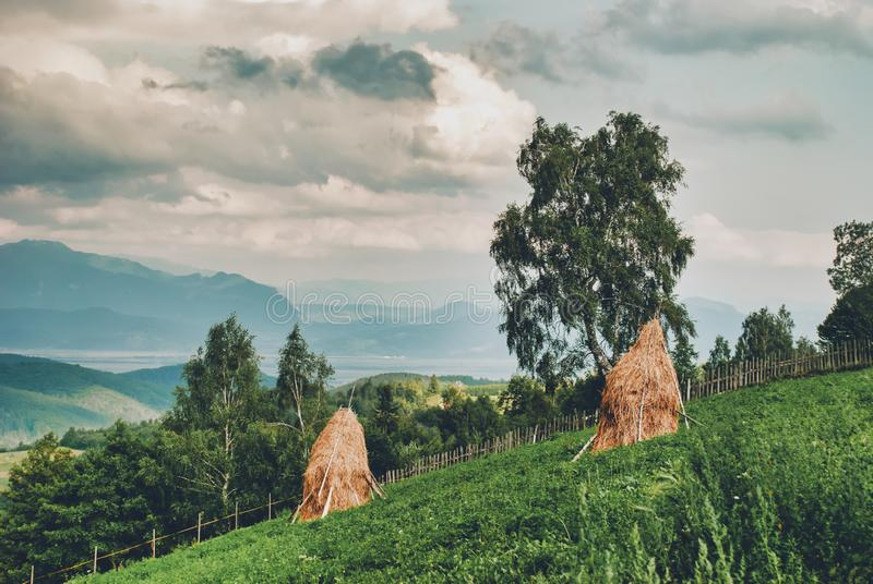 Paysage rural avec des collines de meule de foin photos stock