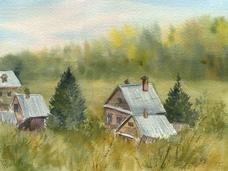 Paysage rural avec des maisons et des arbres illustration libre de droits