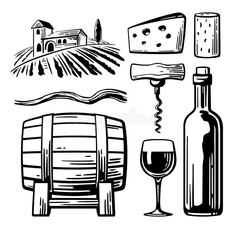 Paysage rural avec la villa, les champs de vignoble et les collines Bouteille, verre, tire-bouchon, vigne, liège, baril, fromage  illustration de vecteur
