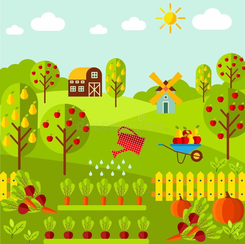 Paysage rural avec les légumes organiques, jardin de fruit, ferme, moulin illustration libre de droits