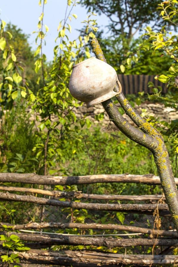 Paysage rural - barrière d'acacia avec le vieux pot d'argile photo stock