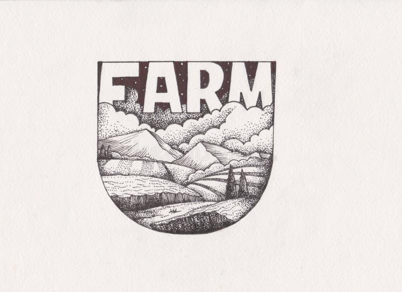 Paysage rural dans le style graphique Illustration tirée par la main illustration stock