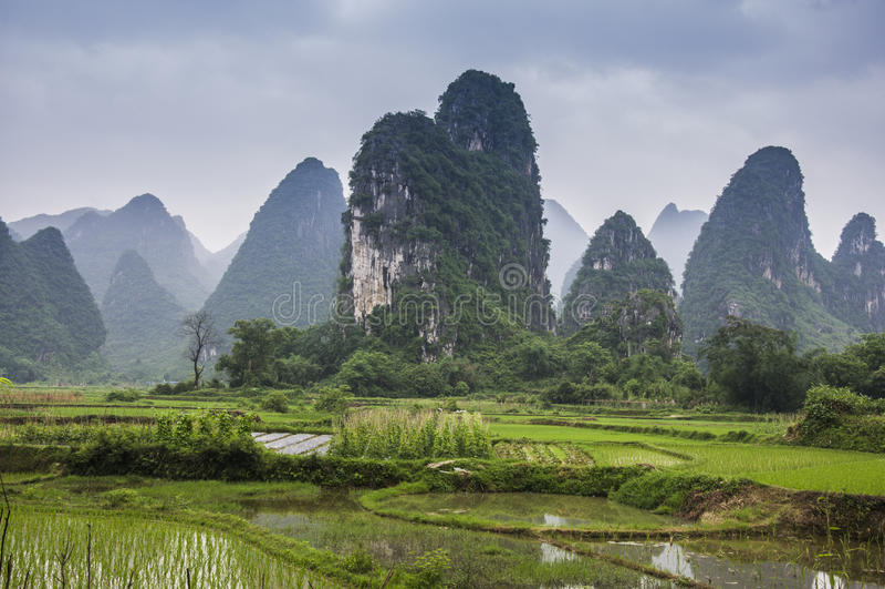Paysage rural de beau karst à Guilin, Chine photos libres de droits