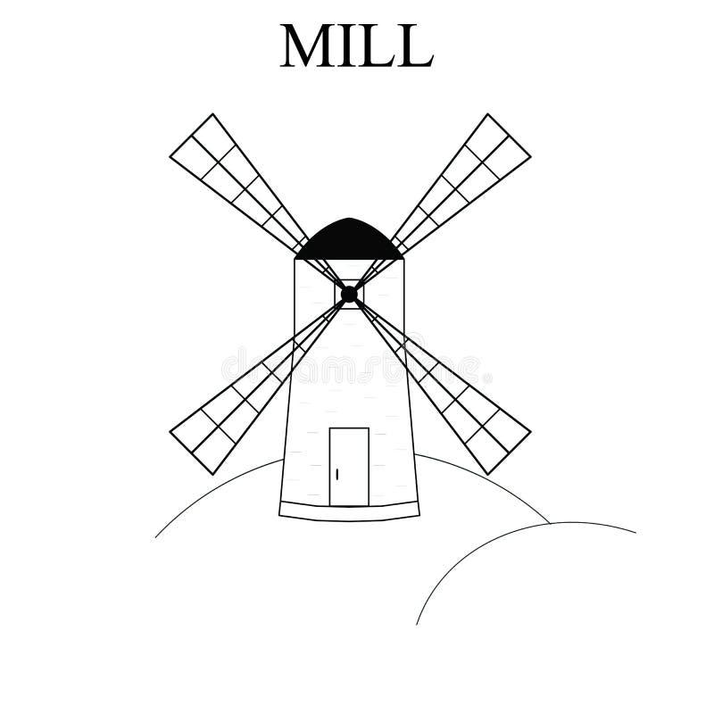 Paysage rural du moulin de vent Bâtiment pour la farine de meulage La production du pain illustration stock