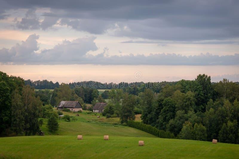 Paysage rural letton traditionnel avec les petits pains et la forêt de foin dans la distance image libre de droits