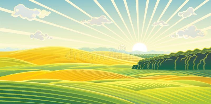 Paysage rural, lever de soleil au-dessus des champs et collines illustration libre de droits