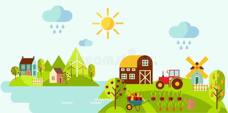 Paysage rural panoramique avec le concept de jardinage illustration stock
