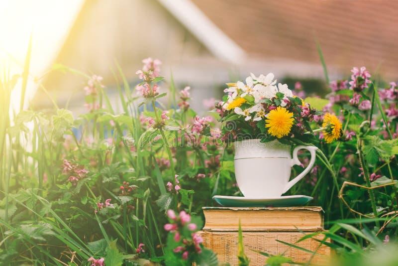 Paysage rural par pile de vieux livres avec un verre de fleurs sur un fond d'herbe fleurissante et d'une maison rustique photos stock