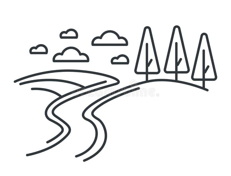 Paysage rural, route sur les collines et plan forestier illustration stock