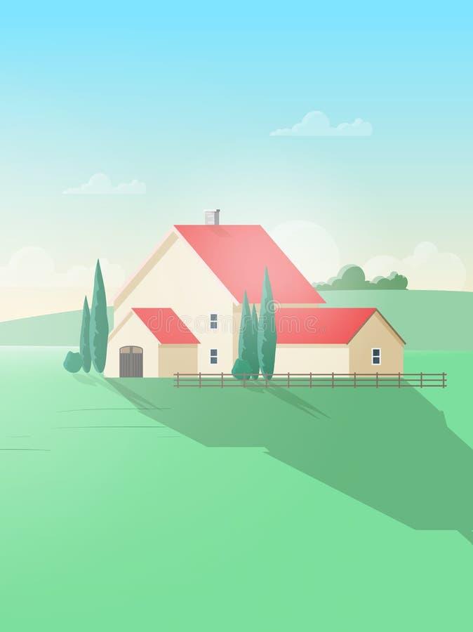 Paysage rural vertical avec le bâtiment de ferme ou le cottage et le champ ou le pré vert contre le beau ciel sur le fond illustration stock