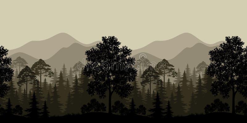 Paysage sans couture, arbres et silhouettes de montagne
