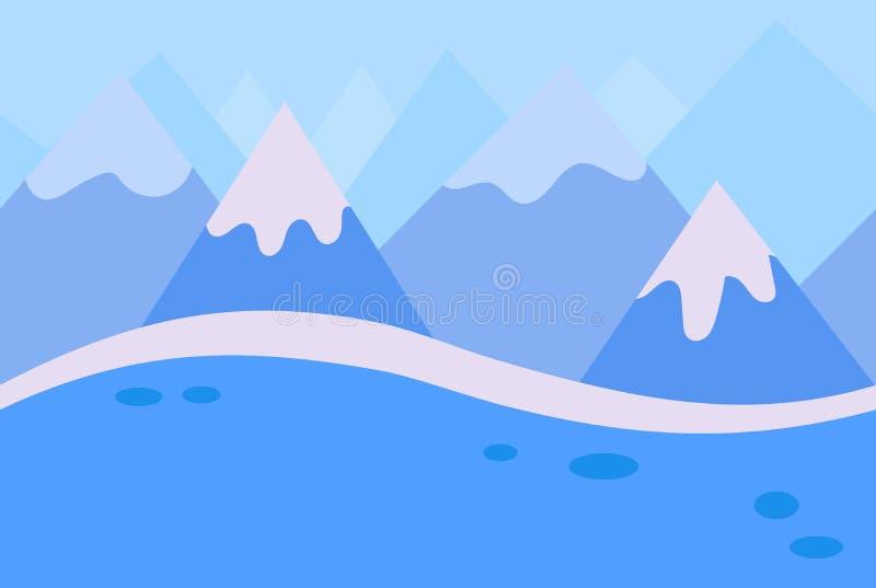 Paysage sans couture de montagne bleue d'hiver illustration libre de droits