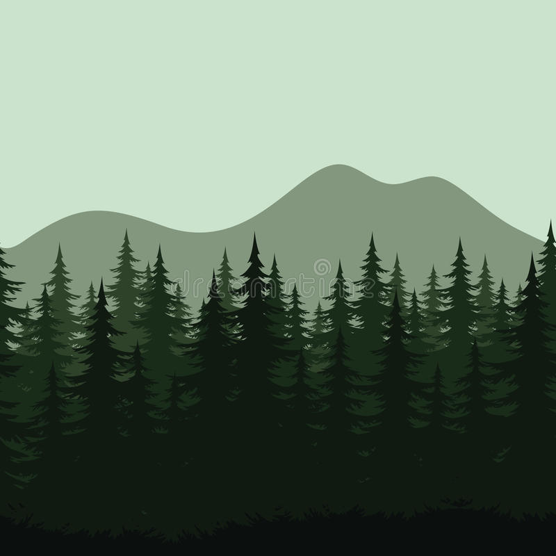 Paysage sans couture de montagne, silhouettes de forêt illustration libre de droits