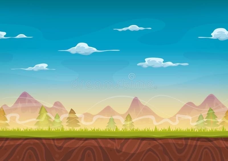 Paysage sans couture de montagnes pour le jeu d'Ui illustration de vecteur