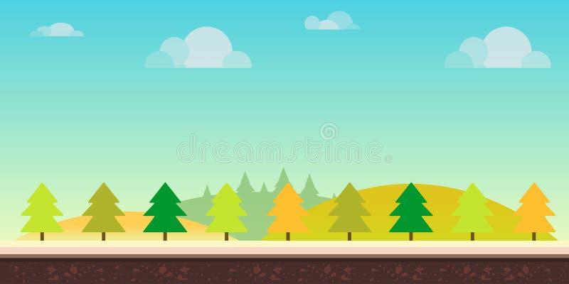Paysage sans couture de nature de bande dessinée Collines, arbres, nuages et ciel, fond pour des applications mobiles de jeux et  illustration stock