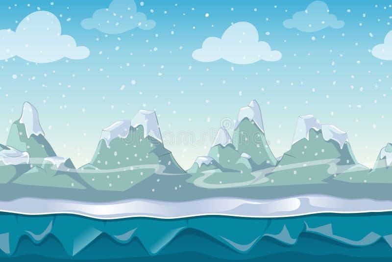 Paysage sans couture de vecteur d'hiver de bande dessinée pour le jeu d'ordinateur illustration libre de droits