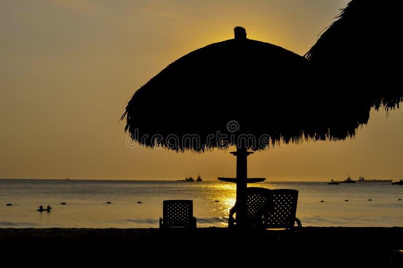 Paysage Santa Marta, Colombie de silhouette de coucher du soleil image stock