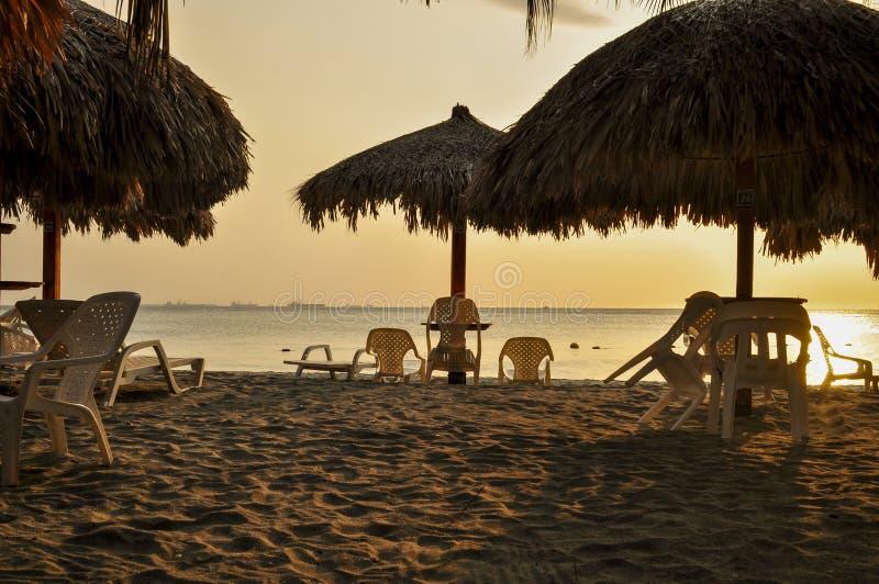 Paysage Santa Marta, Colombie de silhouette de coucher du soleil image libre de droits