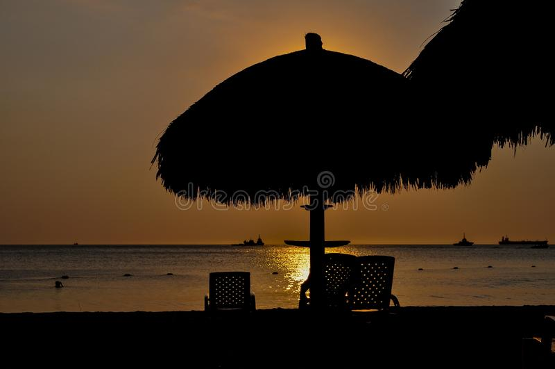 Paysage Santa Marta, Colombie de silhouette de coucher du soleil photographie stock