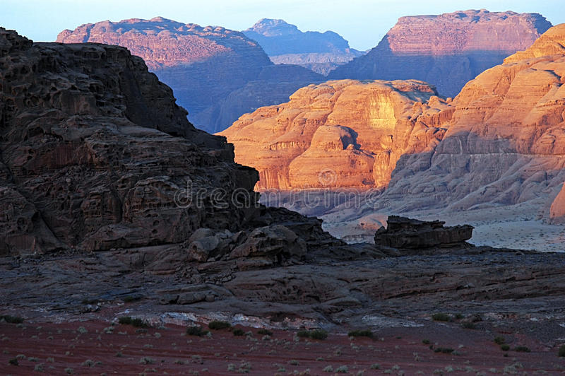 Paysage sauvage de Wadi Rum Jordan images libres de droits