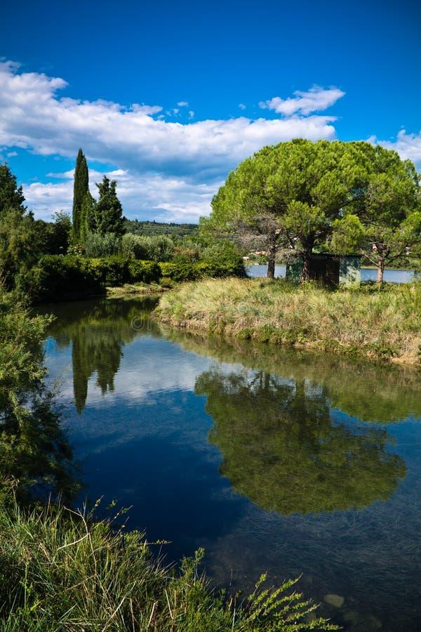 Paysage scénique avec les arbres de rivière et le ciel bleu, strunjan, Slovénie photographie stock