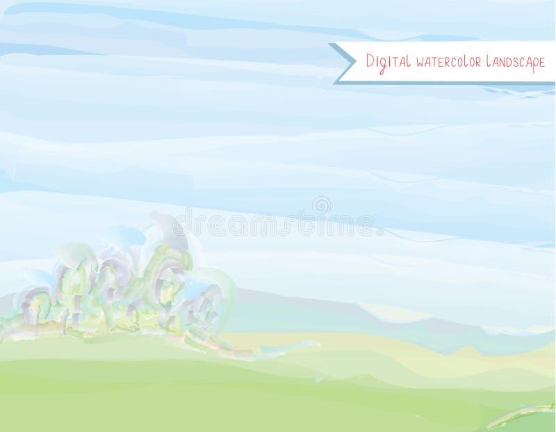 Paysage scénique d'aquarelle dans le style d'aquarelle illustration libre de droits
