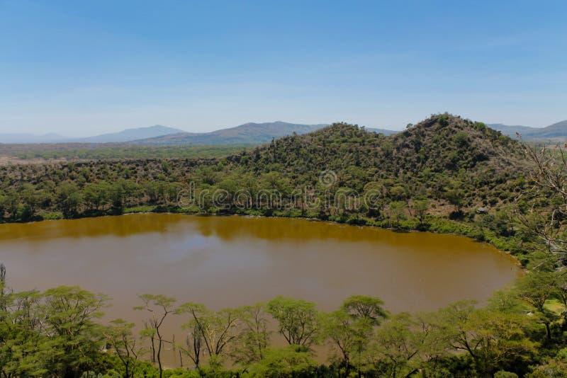 Paysage scénique de lac crater en Afrique image libre de droits